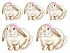 Vintage Image Shabby Baby White Bunny Pink Roses And Bow Waterslide Decals AN781