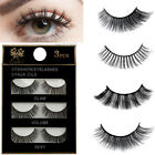 3 Pairs/Box False Eyelashes Recyclable Fake Eyelash Thick Long Curly Makeup Tool