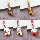 1PC Fortune Lucky Cat Key Ring Chain Mobile Phone Bag Charm Toy Xmas Gift Decor