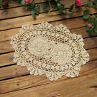 "Внешний вид - Ecru Vintage Hand Crochet Lace Doily Oval Table Placemat 12""X17"" Floral Pattern"