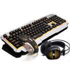 Backlit Mechanical Keyboard Wired USB Ergonomic PC Gaming+Mouse+Headphone Set
