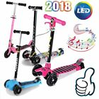 Folding Aluminum Kids Kick Scooter Adjustable Height LED Wheels +Music +Brake TO