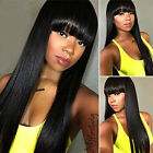 Brazilian Synthetic Hair Wigs Silky Straight Synthetic None Lace Wig With Bangs