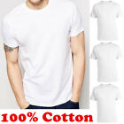 Lot Mens 100% Cotton Crew Neck Tagless T-Shirt Undershirt Plain White Tee XL-4XL image