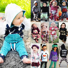 53 Styles NEW Kids Baby Boys Girls Floral Camo Hooded Hoodie Outfits Set Clothes