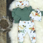 Newborn Baby Girls Floral 3pcs Clothes Jumpsuit Romper Pants Headband Outfit Set