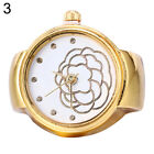 Lady Girl Golden Tone Round Elastic Alloy Quartz Watches Finger Ring Watch Soft