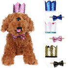 Cute Pet Birthday Crown Hat Bow Tie Set Dog Cat Cosplay Costume Birthday Party