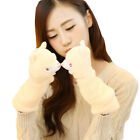 Women Soft Alpaca Fleece Fingerless Wrist Gloves Cute Cartoon Fashion Mittens