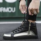 Mens High top Bright Leather Zipper Boots Fashion Male Black Casual Lace Shoes