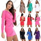 Womens Long Slit Sleeve Backless With Belted Tie Back Party Mini Bodycon Dress