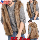 Men's Fur Leather Hooded Vest Men Sleeveless Outerwear Coat