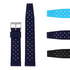 StrapsCo Vintage Perforated Silicone Rubber Rally Dive Watch Band Strap image