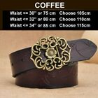 Thick Cowskin Genuine Vintage Fashion Flower Buckle Design Quality Leather Belt