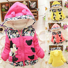 Kids Baby Girls Disney Minnie Mouse Hooded Jacket Coat Zip Winter Warm Snowsuits