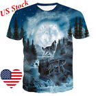 Men Women 3D Howling Wolf Moon Funny Printed T-Shirt Short Sleeve Tee Shirt New image