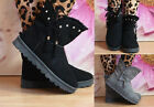 Ladies Womens Flat Faux Suede Warm Fur Lined Winter Diamante Ankle Boots Size