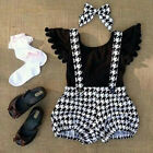 2PCS Toddler Kid Baby Girl Clothes Ruffle T-shirt Tops+Bib Dresses Outfit Set