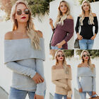 US Women's Knitted Pullover Jumper Sweater Off Shoulder Long Sleeve Knitwear Top