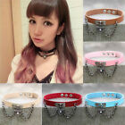 Lady Punk Gothic Leather Choker Necklace Heart Chain Pendant Rivet Buckle Collar