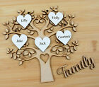 Wooden MDF Family Tree with Personalised White Hearts Painted and Family Word