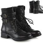 Womens Ankle Boots Lace Up Ladies Zip Biker Punk Military Combat Shoes Size