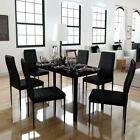 Warmiehomy Black Glass Dining / Meeting Table and 4 /6 PU Chairs Home & Office