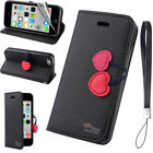 Case For iPhone 5C Luxury Cute Cherry Magnetic Wallet Leather Flip Stand Cover
