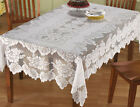 Внешний вид - Lace Tablecloth Rectangle White IN HAND Floral Rose Cover Elegant Dining Table