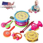 7Pcs Lot Baby Roll Drum Musical Instruments Band Kit Children Toy Gift Set Toys