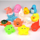 13pcs Animals Toys Soft Rubber Float Baby New Sqeeze Bath Cute Sound Kids