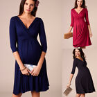 Pregnant Women V Neck Wrap Maxi Long Dress Maternity Photography Prop Clothes US