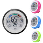LCD Thermometer Indoor Hygrometer Touch Screen Round Alarm Clock Meter U4O3E