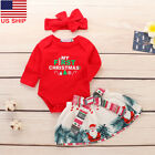 US! 3PCS Christmas Newborn My First Baby Girl Romper Warmer Costume Outfits Set