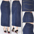 NWT Stretch Denim Dark Blue Straight Long Skirt,size XS to 2XL - #WG-86290