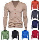 Men Autumn Cotton Winter Button V Neck Long Sleeve Knit Sweater Cardigan Coat