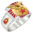 Customizable Men's Two Tone 0.925 Sterling Silver or Vermeil Shriner Mason Ring