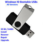 Windows 7 or 10 Bootable USB - All Versions 32/64 Install Repair Recover Upgrade