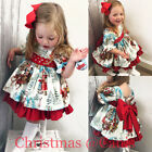 USA Christmas Toddler Kids Baby Girl Xmas Flared Party Santa Swing Dress Clothes