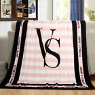 Victoria's Secret Pink Plush Throw Blankets PINK BLACK Coral Fleece Bedding Soft image