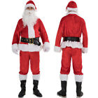 5 PCS Christmas Santa Claus Costume Fancy Dress Adult Suit Cosplay Party Outfits
