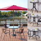 4 Seater Glass Table Garden Outdoor Indoor Bistro Cafe Unit With Parasol Hole Uk