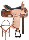 Barrel Saddle 14 15 16 17 Two Tone Leather Bling Racing Western Trail Horse Tack