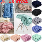 US Knitted Yarn Mat Arm Thick Blanket Merino Mat Carpet Chunky  Giant Throw Gift image