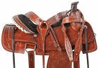 Used Roping Saddle Medium Oil Floral Western Leather Trail Ranch Horse Tack Set