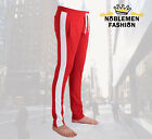MEN HIPSTER TECHNO TRACK SIDE COLOR STRIPE TRACK ANKLE ZIP PANTS