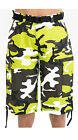 MEN BIG AND TALL CAMOFLAUGE CARGO WITH BELT CAMO TWILL SHORTS 44~56