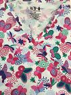 PLUS SIZED PRINTED MEDICAL NURSING SCRUB TOP MULTI-COLORED BUTTERFLIES 3X 4X 5X