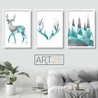 Set of 3 Geometric Art Prints Aqua Blue Stag Antlers Poster Picture Decor