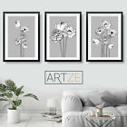 Set of 3 Grey Art Prints Sketch Peony Flower Floral MinimalPoster Picture Decor